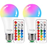 LED Color Changing Light Bulb with Remote Control,10W E26 RGB+Daylight White LED Bulbs Dimmable with Memory Function…