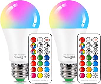 NetBoat LED Color Changing Light Bulb with Remote Control10W E26/E27 RGB+Daylight White LED Bulbs Dimmable with Memory FunctionIdeal Lighting for Home DecorationStageBarParty2-Pack