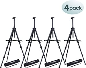 "4 Pack Easel Stand, Ohuhu 72"" Artist Easels for Display, Aluminum Metal Tripod Field Easel with Bag for Table-Top/Floor/Flip Charts, Black Art Easels Adjustable Height 25-72"" Back to School Art Supply"