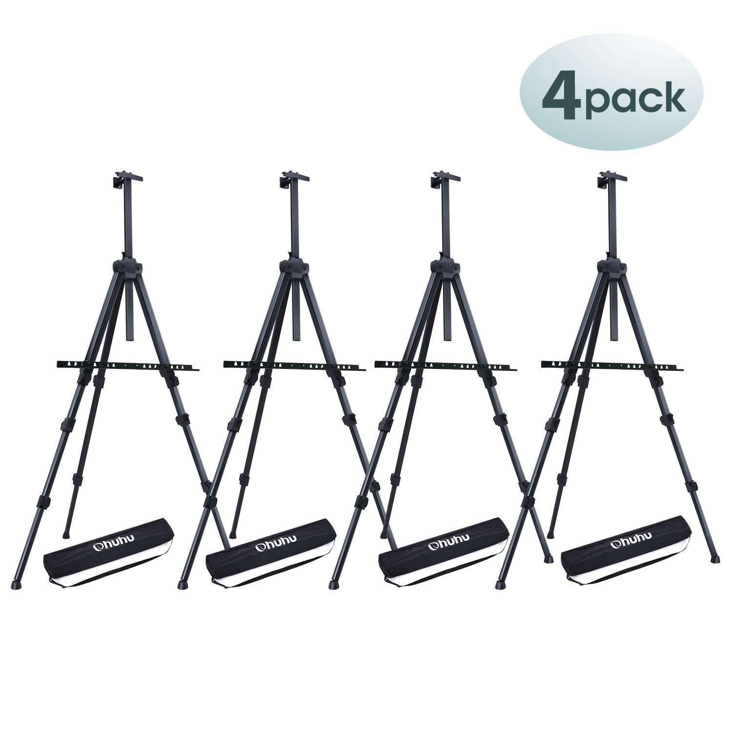 """4 Pack Easel Stand, Ohuhu 72'' Artist Easels for Display, Aluminum Metal Tripod Field Easel with Bag for Table-Top/Floor/Flip Charts, Black Art Easels W/Adjustable Height 25-72"""""""