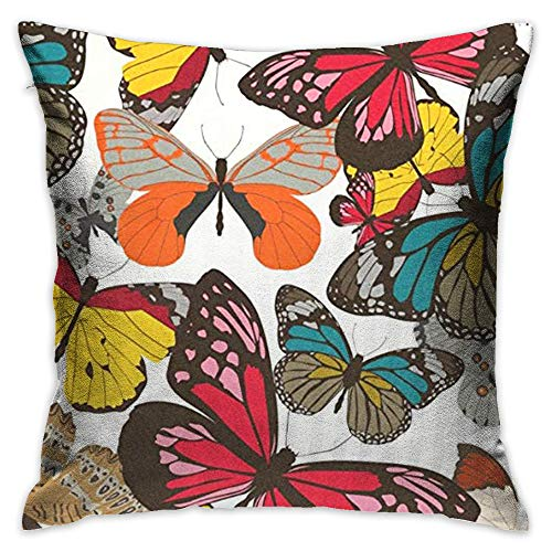 Throw Pillow Cover Country Garden Floral Butterfly Decorative Pillow Case Decor Square 18x18 Inch Cushion Pillowcase