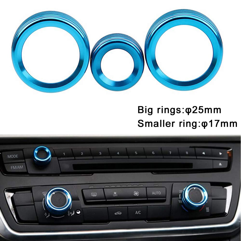 Lot Aire Acondicionado Anillos Radio Volumen Perilla Anillo Cubre C/írculo Decorativo Trim Low Match Blue PolarLander 3Pcs