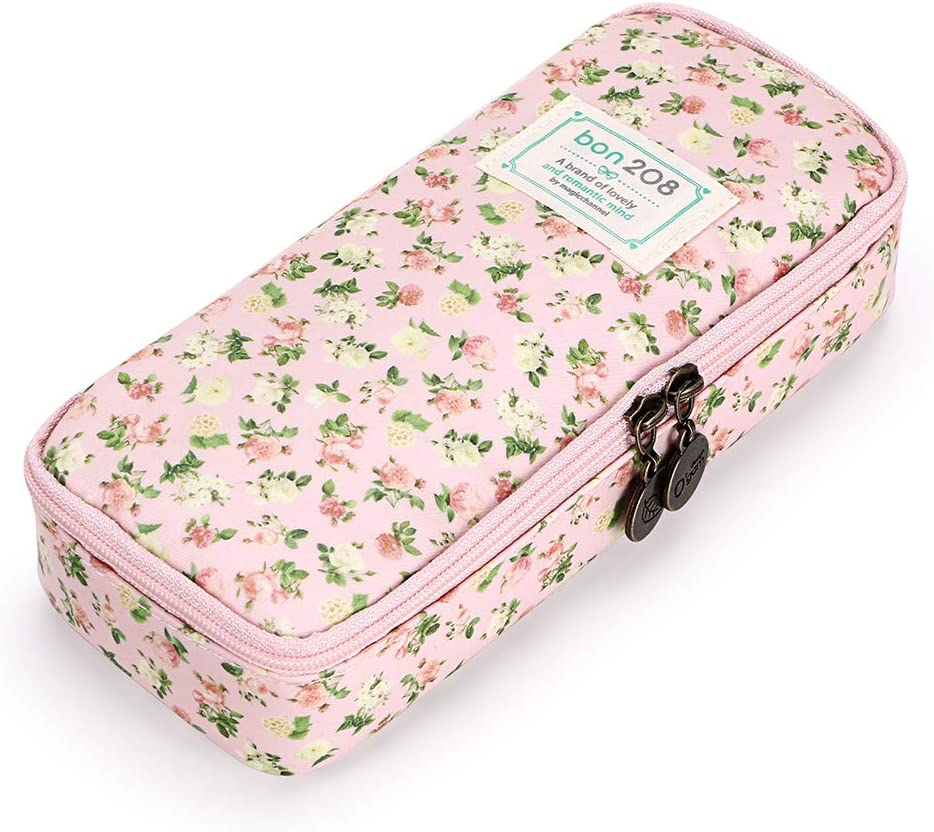 Amazon Com Btsky Cute Pencil Case High Capacity Floral Pencil Pouch Stationery Organizer Multifunction Cosmetic Makeup Bag Perfect Holder For Pencils And Pens Pink Home Improvement