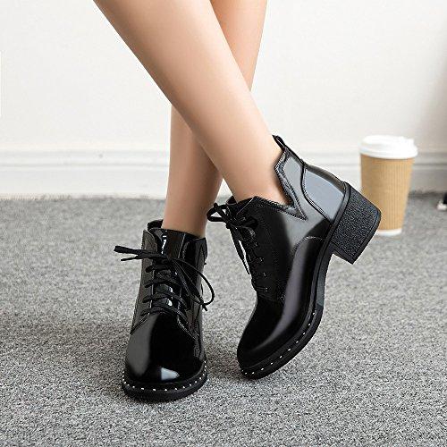 Malloom Fashion Cuir À Chaussures Décontractées En Verni Noir FemmesBottes Plates Noires Lacets Pour mvO0N8nw