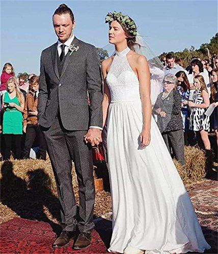 s Backless Plus Dresses Beach Hater Chiffon Gowns DreHouse White Wedding Women Size Bridal line A 5qFwzSa