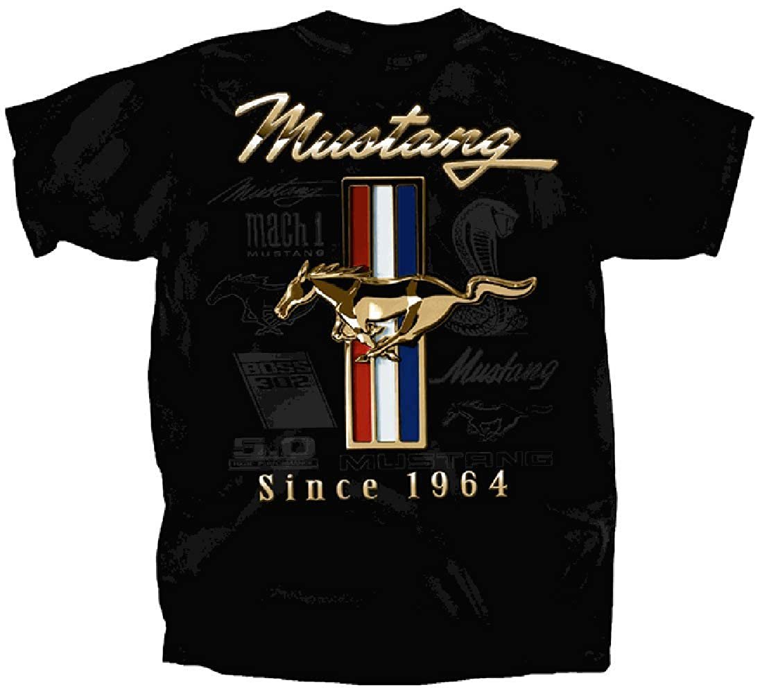 Ford Mustang Golden Tribar T-shirt with 5.0 Tribal Pony Emblems Boss