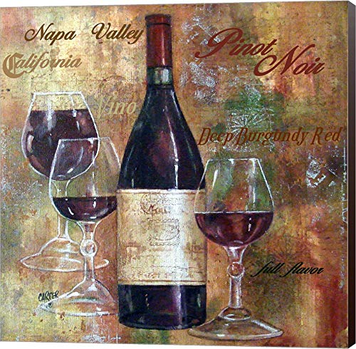 - Napa Valley Pinot Lettered by Jamie Carter Canvas Art Wall Picture, Museum Wrapped with Espresso Sides, 14 x 14 inches