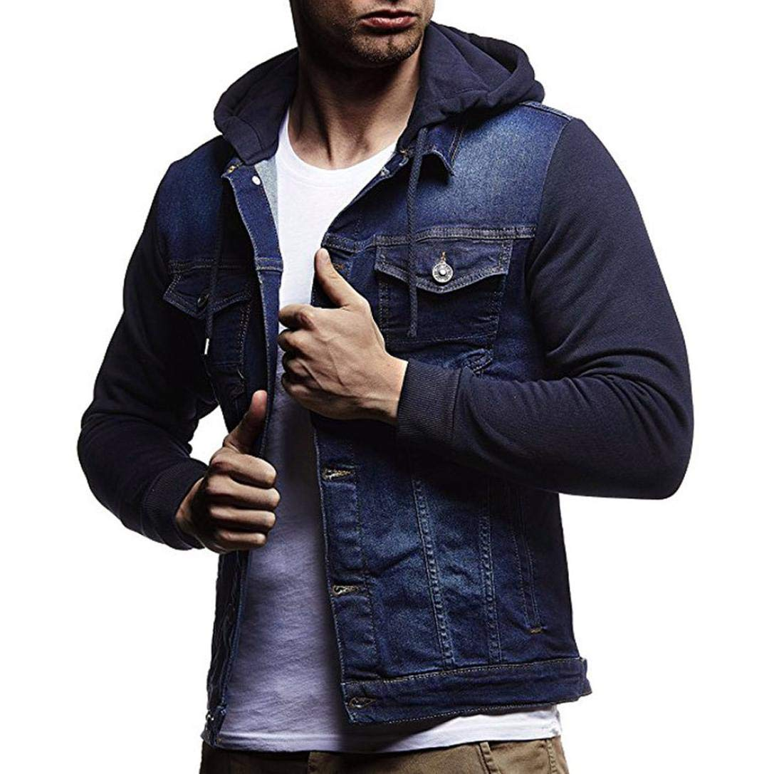 iZHH Mens Autumn Winter Coat Outwear Jacket Hooded Vintage Distressed Denim Tops(Blue,US-S)