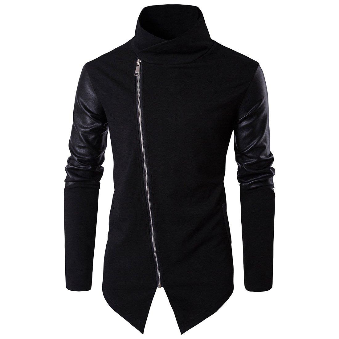 Tristin Men's Casual Jacket Zip Up Lightweight Turtleneck Asymmetrical Cotton Leather Long Sleeve Outwear Coat