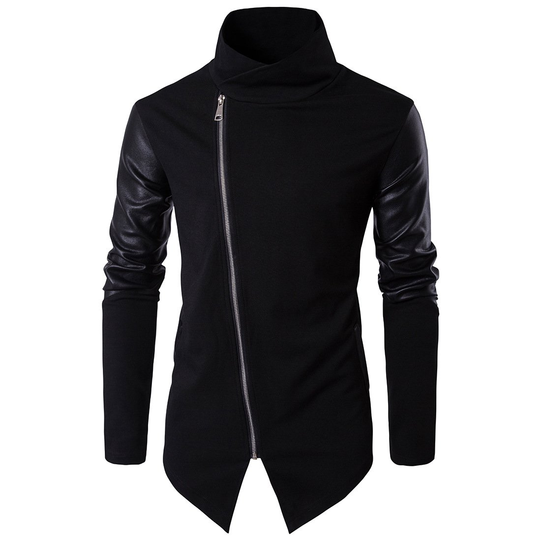 Tristin Men's Casual Jacket Zip Up Lightweight Turtleneck Asymmetrical Cotton Leather Long Sleeve Outwear Coat, Black, Medium by Tristin