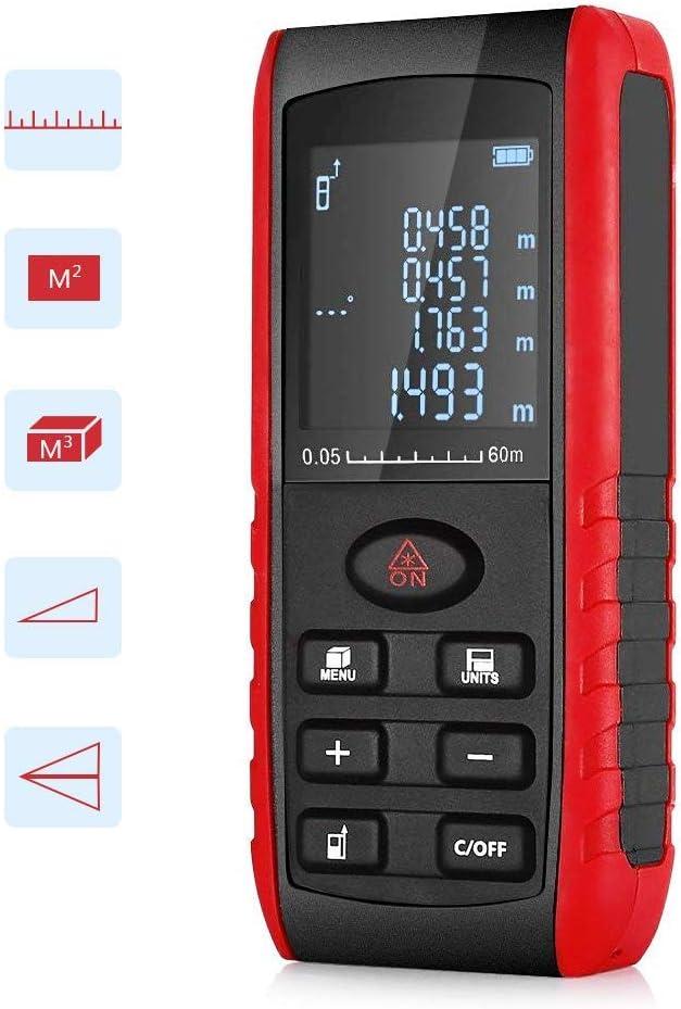 Telémetro Láser 60m Profesional Digital Multifuncional alta Precisión Medida Distancia Surface Volume contra el Polvo con LCD Retroiluminación para Exterior y Interior Tuercas
