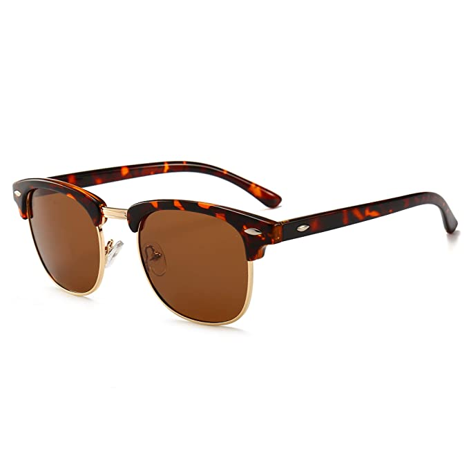 eda9a89b30660 SUNGAIT 80s Sunglasses Retro Semi Rimless for Men Women (Amber Frame Brown  Lens)