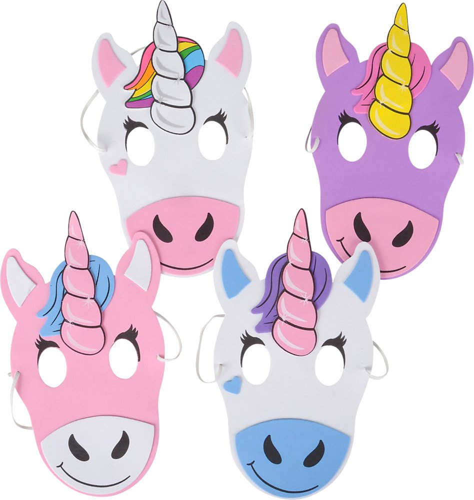 12 Mythical Unicorns Foam Party Masks Costume Accessory by Rhode Island Novelty (Image #1)