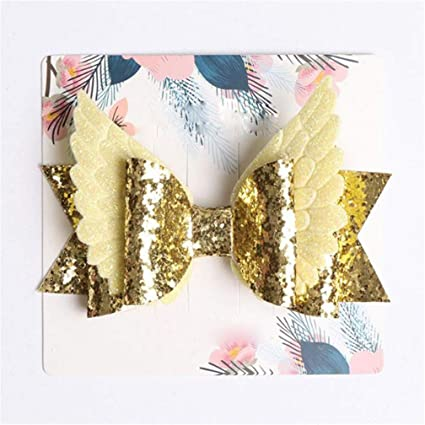 afe6aae8ea54 Image Unavailable. Image not available for. Color: Guoshang Hair Bows Big  Bling Sparkly Sequin Glitter Hair Bows Alligator Hair Clips for Baby Girls