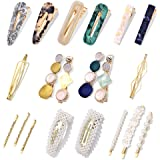 18Pcs Hair Clips - Fashion Korean Style Pearls Hair Barrettes Sweet Artificial Macaron/Acrylic Resin Hair Barrettes Hairpins for Women,Ladies and Girls Headwear Styling Tools Hair Accessories