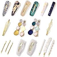 18Pcs Hair Clips - Fashion Korean Style Pearls Hair Barrettes Sweet Artificial Macaron/Acrylic Resin Hair Barrettes…