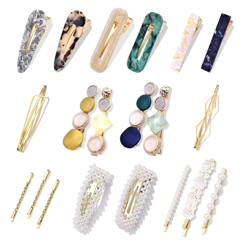 flower colour barrette clips terrazzo colourful acetate hair clips 2 pack Porcelain effect resin hair clips korean hair accessories