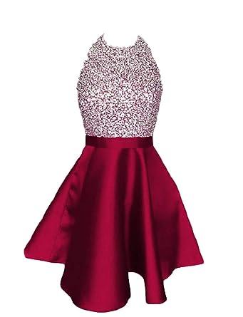 e7254e080c3a LCRS Juniors Short Prom Dresses with Pockets Satin Beaded Halter A-Line  Formal Homecoming Dress