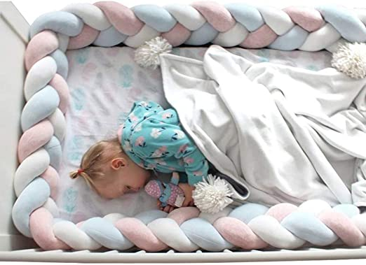 1M//2M//3M Colorful Baby Soft Knot Newborn Bed Bumper Long Knot Crib Decoration