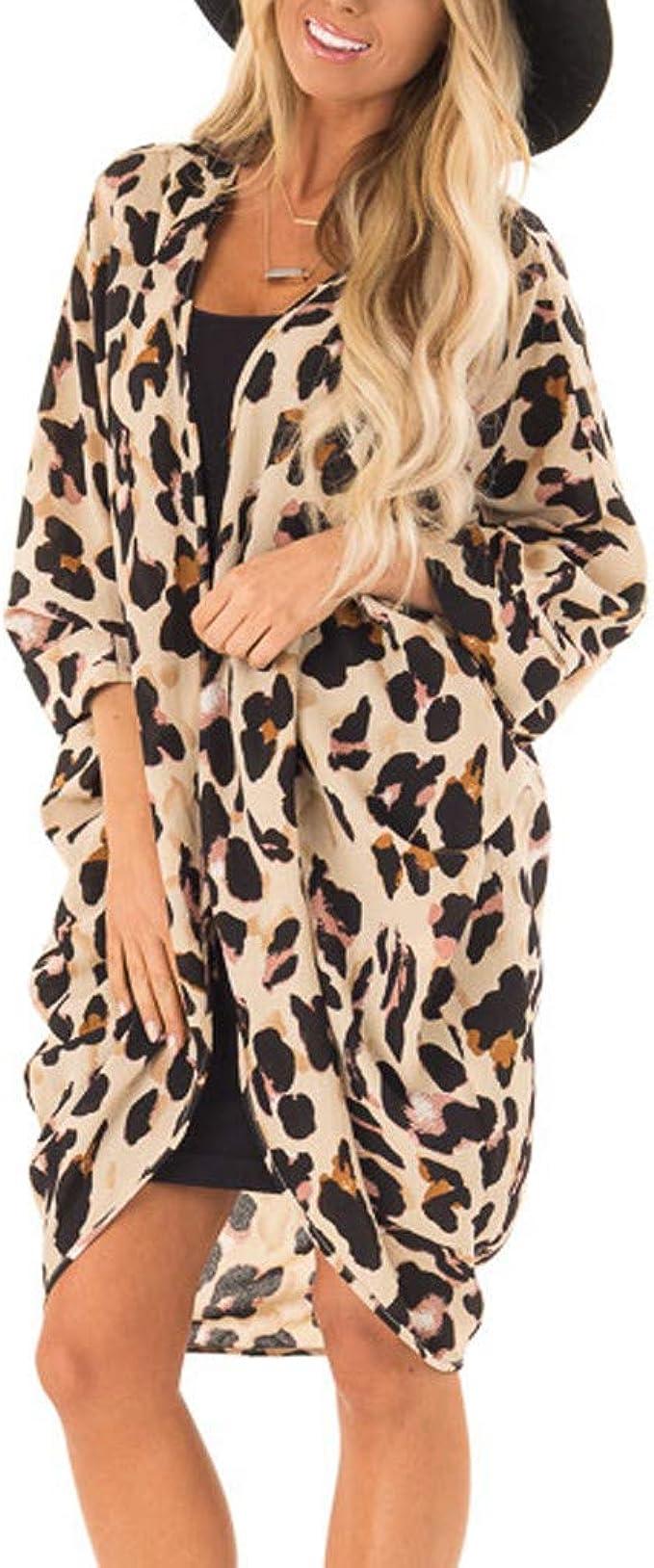 DEELIN Kimono Mujer Verano Moda Leopardo ImpresióN Abrigo Tops ...