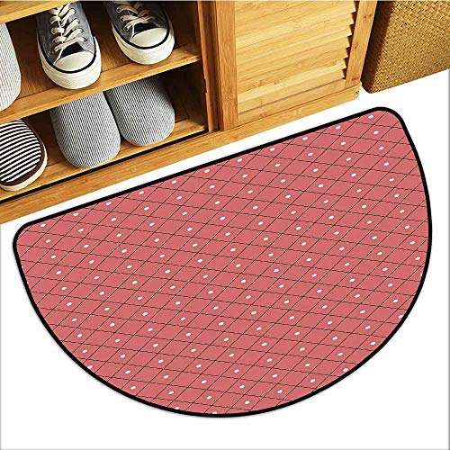 Axbkl Entrance Door mat Pink Rectangular Triangle Diamond Shaped Image with Retro Polka Dots Print Non-Slip Door mat pad Machine can be Washed W30 xL18 Dark Coral Black and White (Black Diamond Machine Ski)