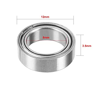 uxcell 10pcs MR128ZZ 8mmx12mmx3.5mm Double Shielded Miniature Deep Groove Ball Bearing (Color: MR128ZZ, Tamaño: MR128ZZ, 10pcs)