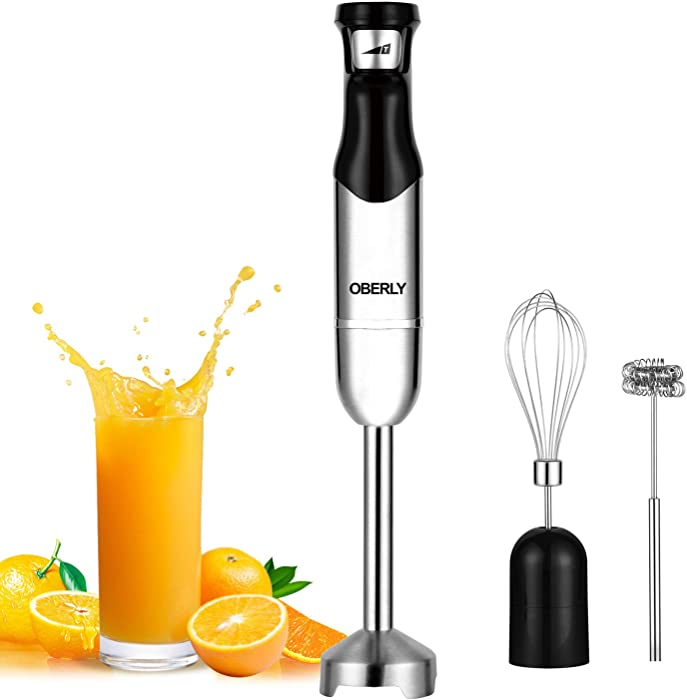 Immersion Hand Blender, OBERLY 3 in 1 Set 500 Watt Smart Stepless Speed Control Multi-Purpose Handheld Stick Blender, Heavy Duty Copper Motor Brushed Stainless Steel Finish With Whisk, Milk Frother Attachments