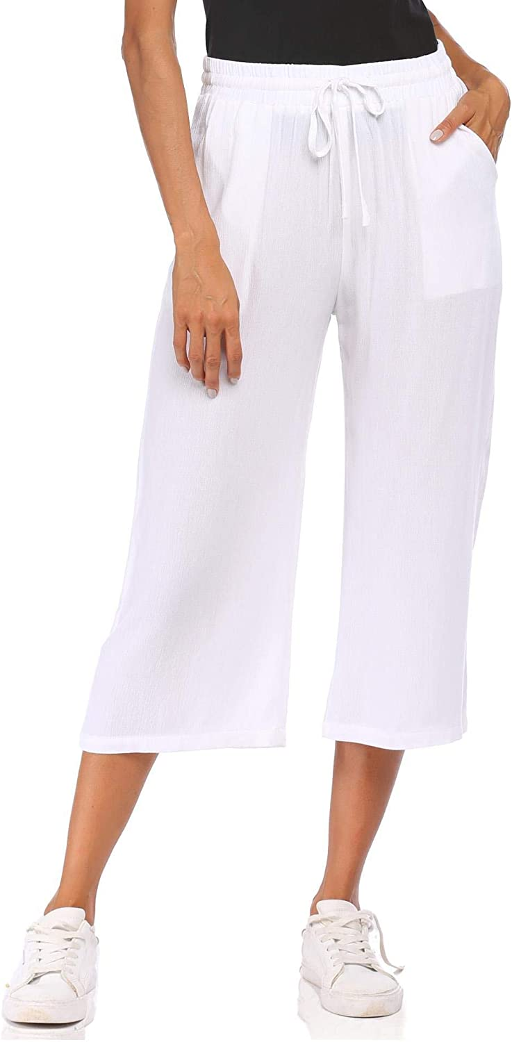 Wildtrest Women Elastic Drawstring High Waist Straight Wide Leg Summer Casual Loose Beach Cropped Pants(White L)