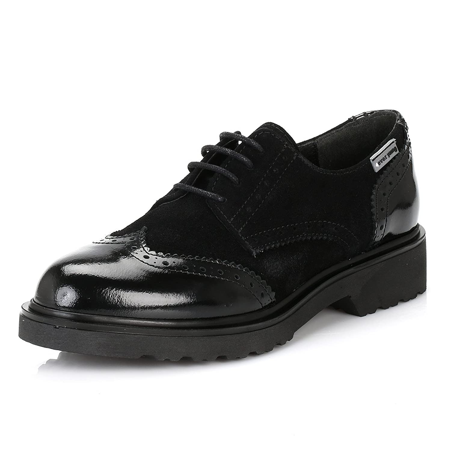 4ever young Womens Black Yale Patent Leather Brogues