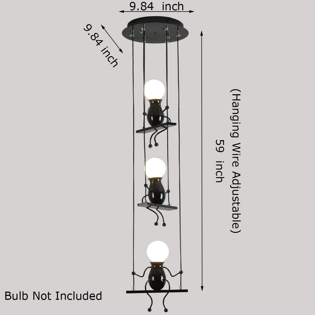 Creative LED Pendant Lighting Modern Little People Ceiling Pendant Light Fixture Adjustable Hanging Lights for Bedroom Decoration Iron Cartoon Doll Chandeliers Dining Rooms 3 E26 Baking Paint