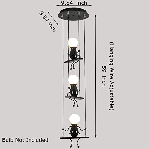 Creative LED Pendant Lighting Modern Little People Ceiling Pendant Light Fixture Adjustable Hanging Light