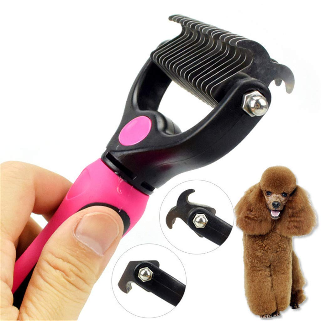 JHKJ Pet Double Side rake Comb dematting Tool pet Grooming Fur Tool for pet Hair Removed