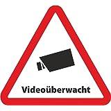 5-Set Aufkleber Videoüberwacht als Dreieck - 10 x 9 cm - Sicherheit für Ihr Fenster am Haus oder Büro