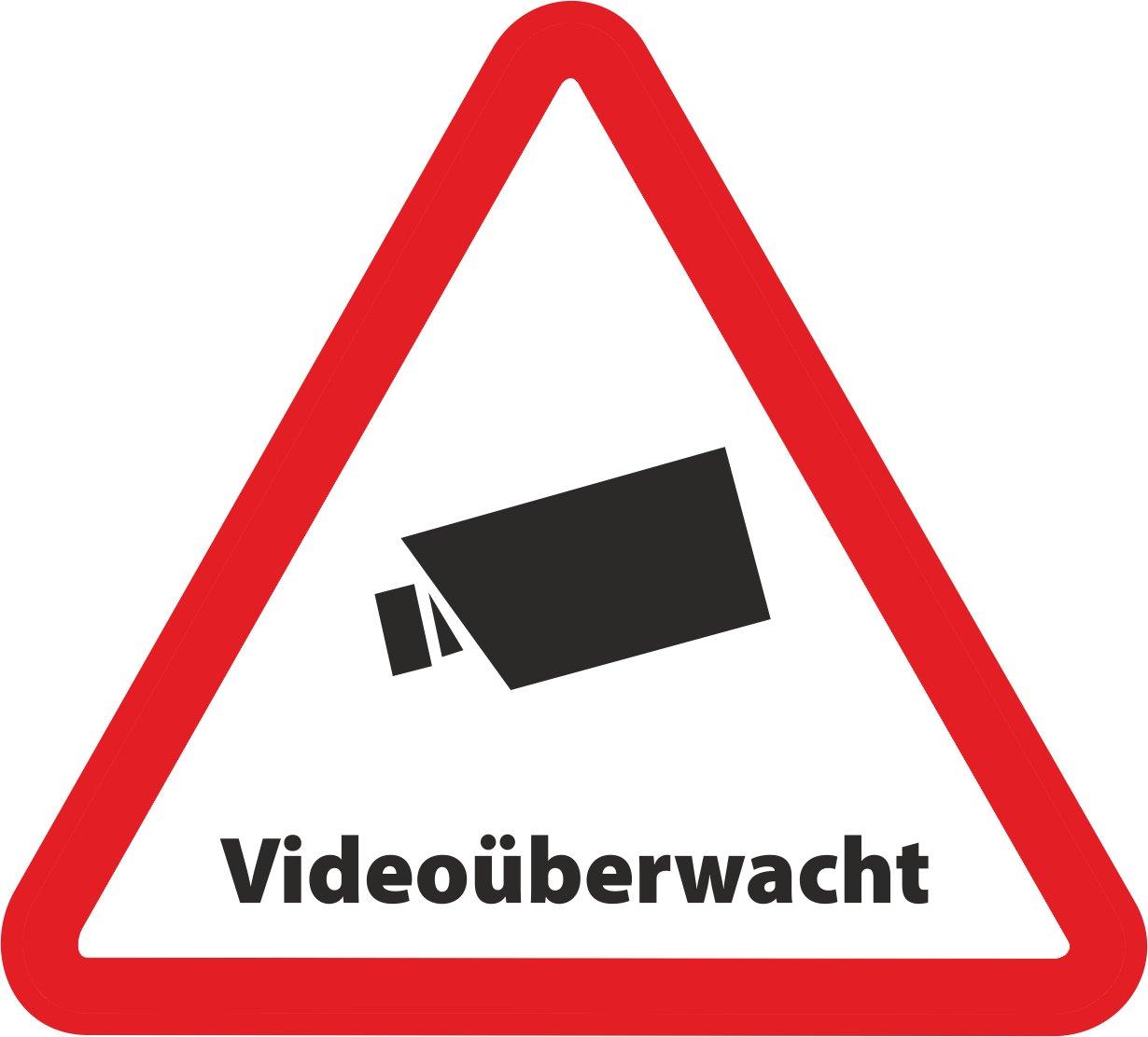 Aufkleber Videoüberwacht als Dreieck - 5x4,5 cm - Sicherheit für Ihr Fenster am Haus oder Büro
