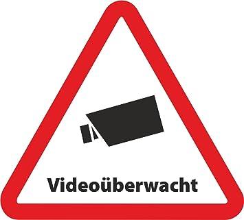 Indigos Ug 5 Set Aufkleber Videouberwacht Als Dreieck 5cmx4 5 Cm