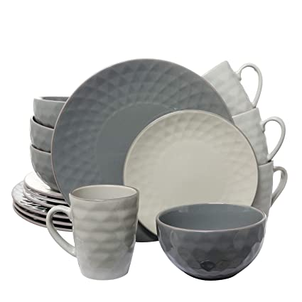 Elama 210109543M EL-TAHITIANPEARL Tahitian 16-Piece Dinnerware Slate and Stone Pearl with Setting for 4, 16pc