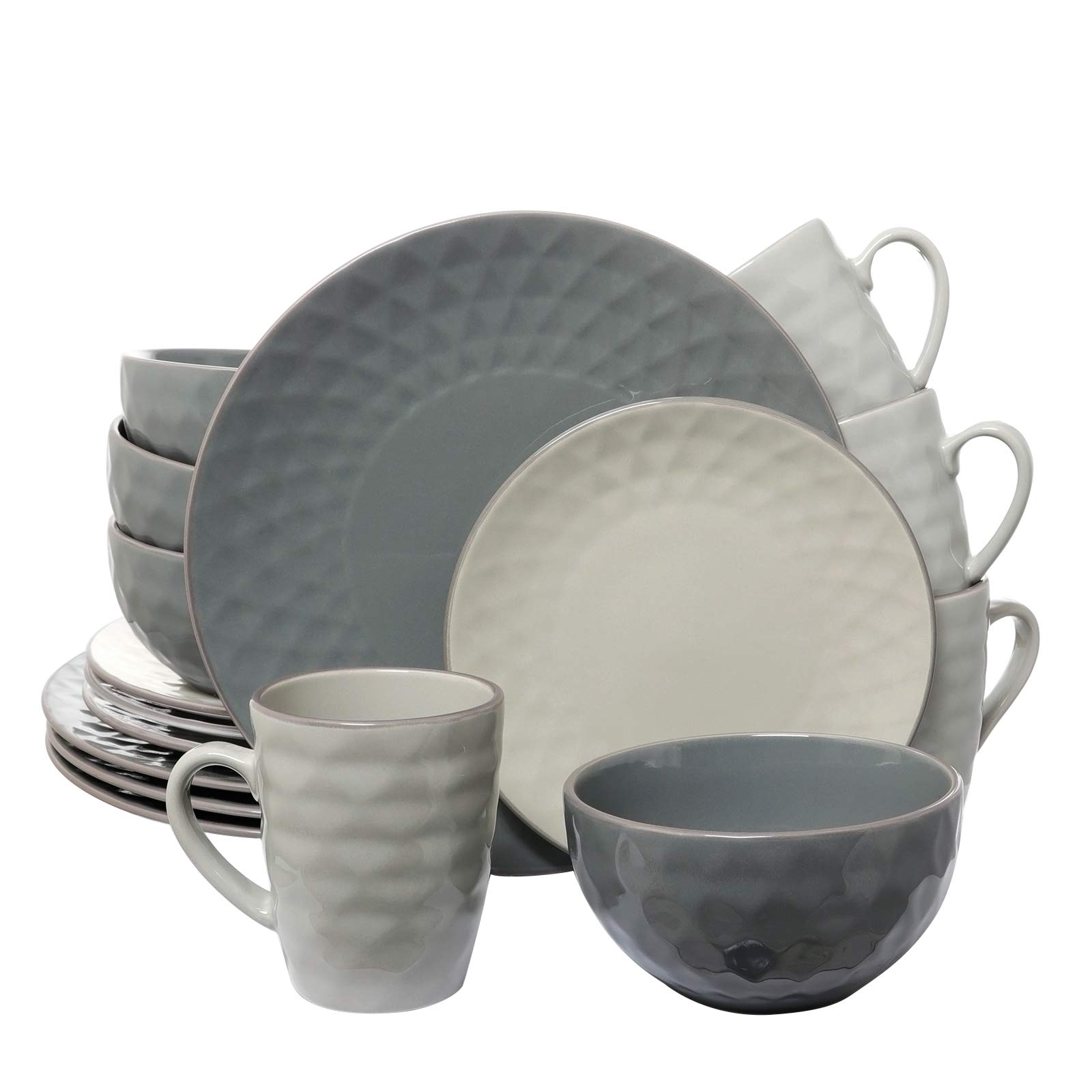 Elama 210109543M EL-TAHITIANPEARL Tahitian 16-Piece Dinnerware Slate and Stone Pearl with Setting for 4, 16pc by Elama (Image #1)