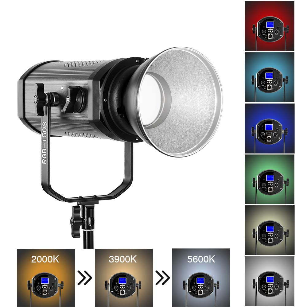 GVM 150W RGB Video Lights with Bowens Mount CRI95+ Full Color Ouput Dimmable 2000K-5600K LED Continuous Photography Light Kit for Studio YouTube Video Filming Boardcast TV Interview Camera Photo