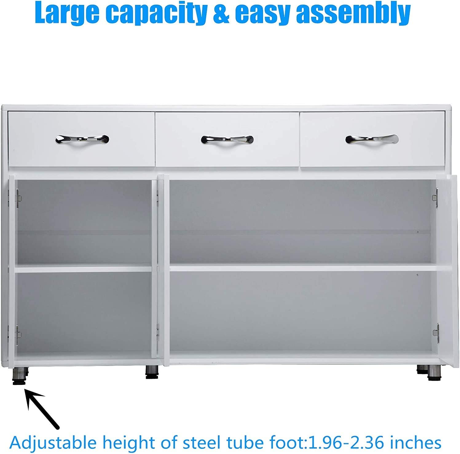 Aooppec Upgraded Thicken Sideboard Buffet Storage Cabinet Three Doors Side Cabinet For Entryway Cupboard With 2 Cabinets 3 Drawers Shelves For Home Office Kitchen Dining Room Grey