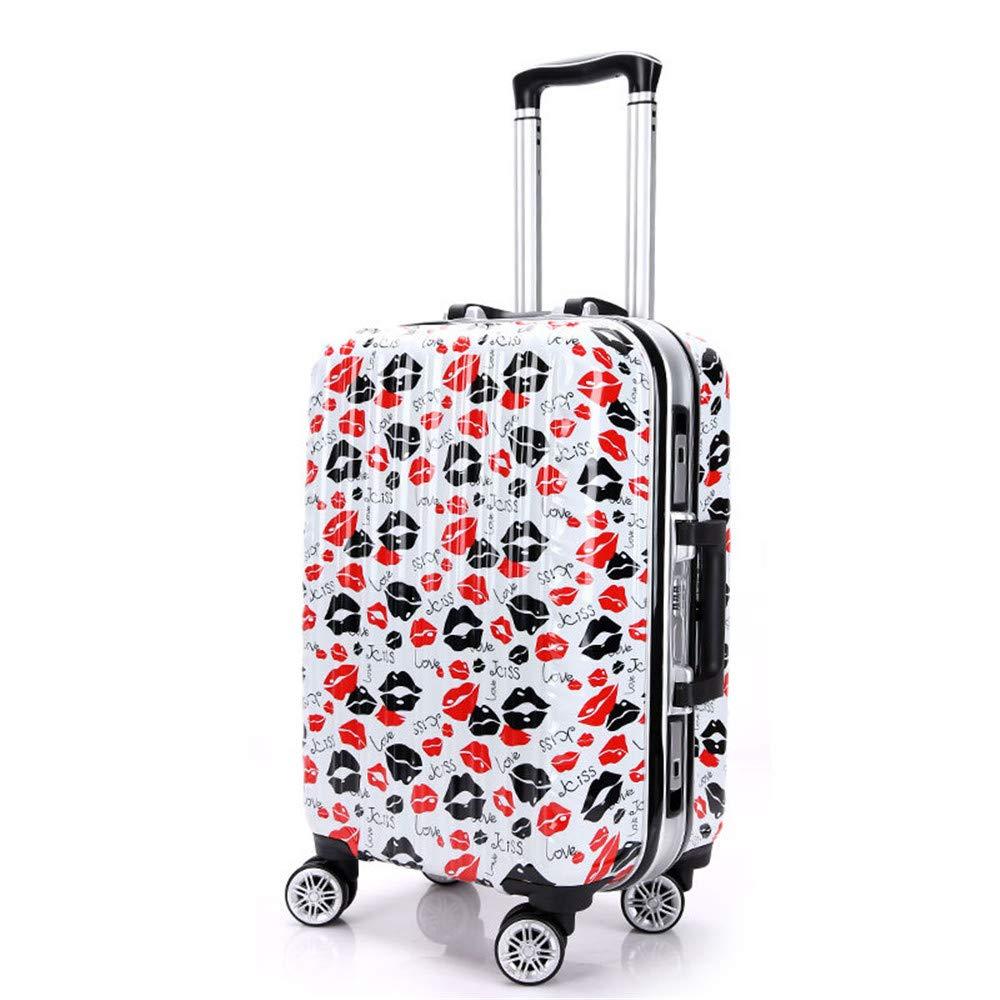 荷物ケース, トラベルバッグスーツケース スーツケースグラフィティ女性学生プルポールスーツケース20インチのラウンドボーディングボックス24インチのアルミフレームボックス B07V5GDDRN