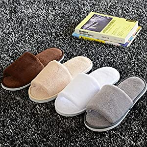 Women Men Open Toe Winter Slippers Warm Slippers Coral velvet House Indoor Shoes