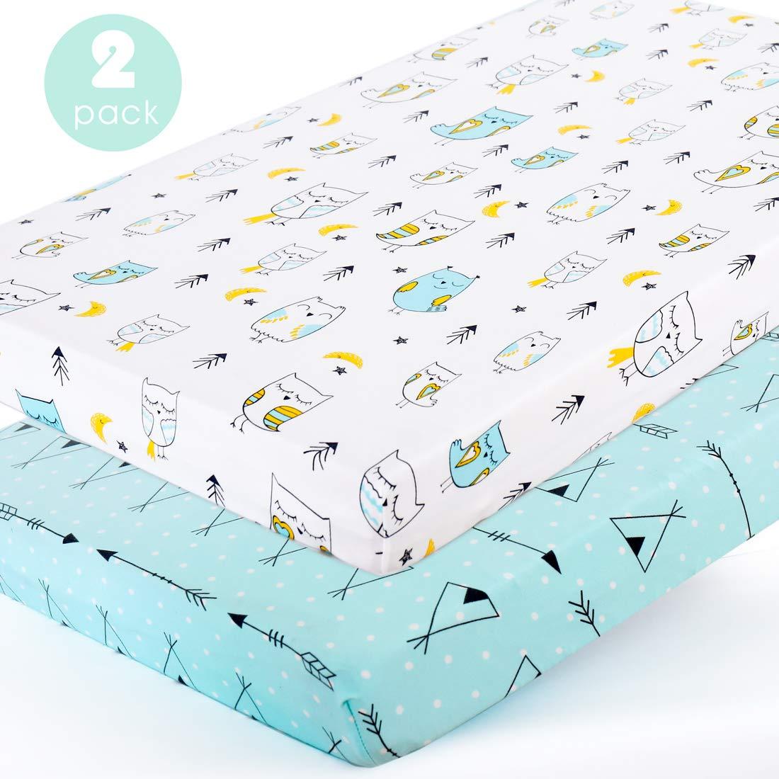 Stretchy-Pack-n-Play-Playard-Sheets-Brolex 2 Pack Portable Mini Crib Sheets,Convertible Playard Mattress Cover for Baby Boys Gilrs,Ultra Soft Jersey Knit,Arrow /& Owl