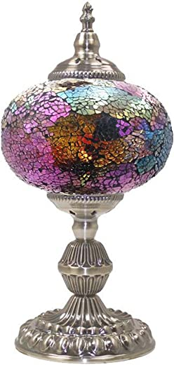 SILVERFEVER Mosaic Turkish Lamp Moroccan Glass for Table Desk Bedside Bronze Base Bundle with E12 Light Bulb-2 Sizes Deep Purple Shades-7.5 D15 H
