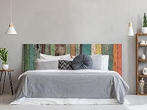 Cabecero Cama PVC Impresión Digital | Imitación Madera Multicolor Antigua 200 x 60 cm | Cabecero Original y Económico