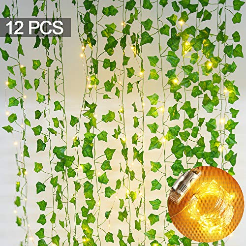 84 FT Artificial Ivy with 10M 100 LED String Light, Fake Greenery Leaf Garland Plants Vine Foliage Flowers Hanging for Wedding Party Garden Home Kitchen Office Wall Decoration(12 Pack)