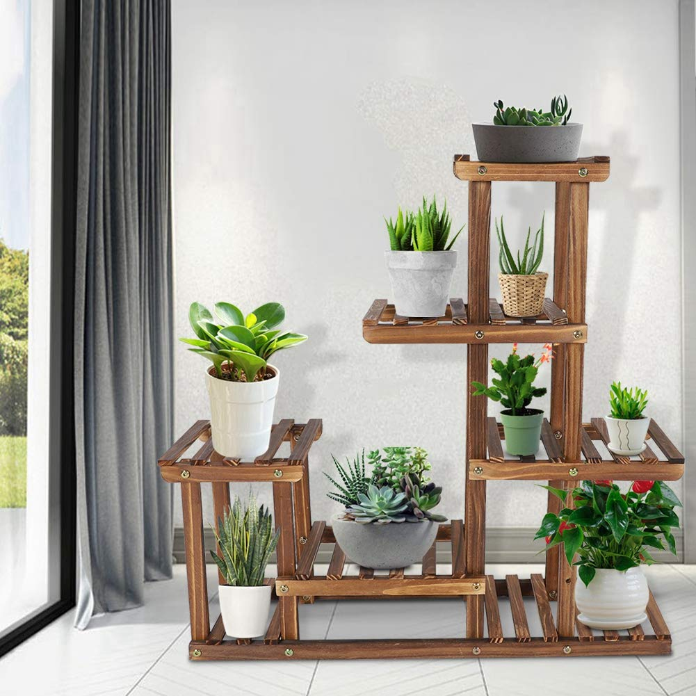 COCOARM Wood Plant Shelf 6 levels Multi-Layer Plant Wooden Plant Flower Display Stand Movable Flower Stand for Indoor Balcony Living Room Outdoor Corner Garden 72 x 72 x 20cm