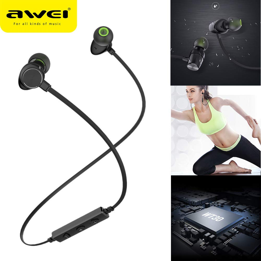 Amazon.com: Insaneness for Running Cycling Earphone,AWEI WT30 Wireless Bluetooth Anti-Sweat CVC Smart Noise Cancelling Headphones (Black): Clothing