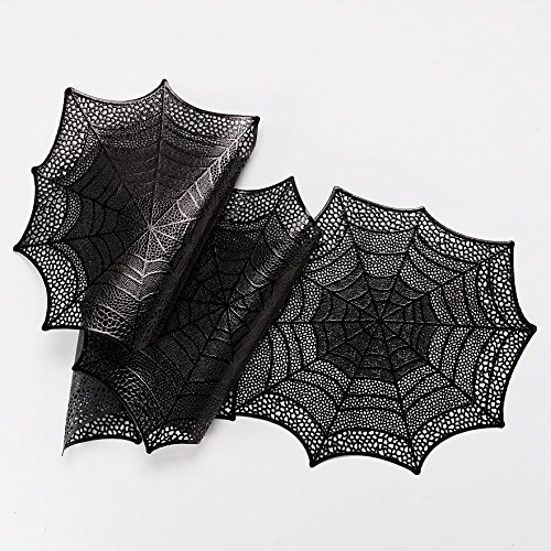 Halloween 4 Piece Spiderweb Lace Placemats Black