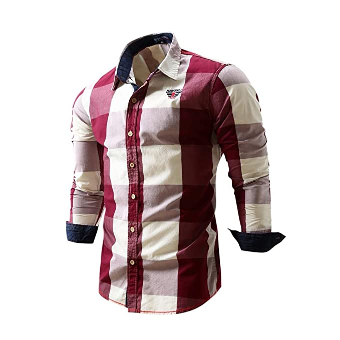 WM & MW Dress Shirts, Mens Shirt Long Sleeve Cotton Plaid Slim Fit Casual Business Shirt Blouse Tops Red at Amazon Mens Clothing store: