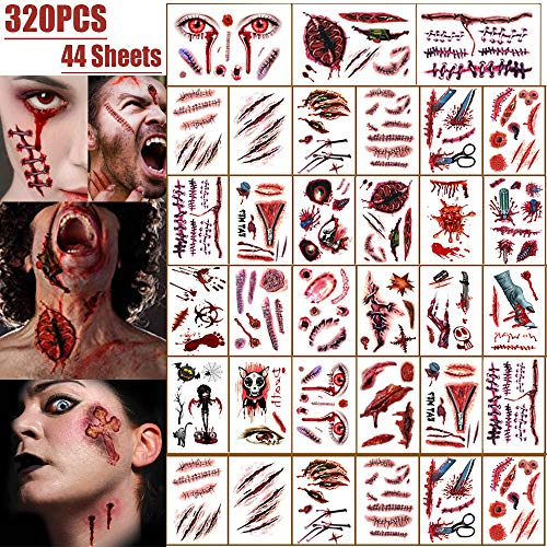 Bloody Halloween Costumes - Halloween Scar Tattoos Temporary, Zombie Party